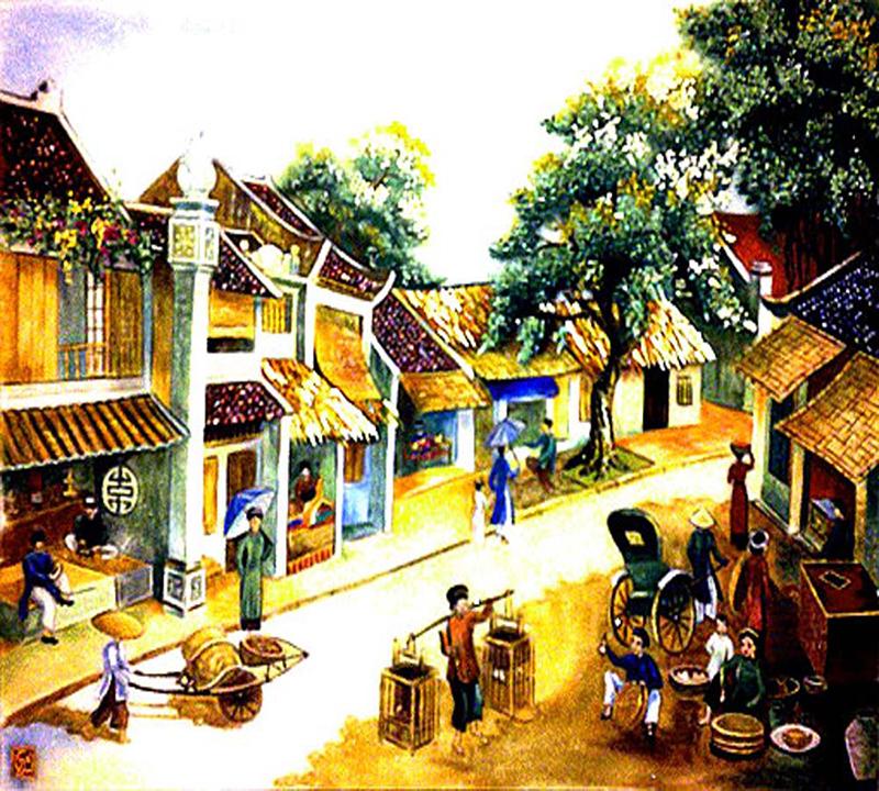 Tranh bán buôn ở 36 phố cổ Hà Nội xưa
