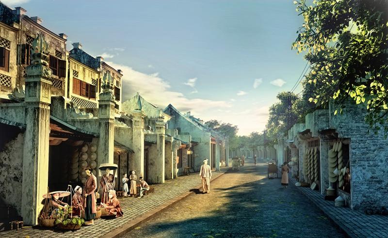 Tranh phố cổ Hà Nội xưa