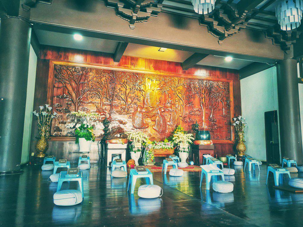 Nơi tụng kinh lễ bái, tọa thiền của chư tăng phật tử  tại Tu viện Khánh An