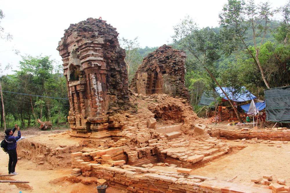 Thánh địa Mỹ Sơn được xây dựng với các chất liệu bền vững theo thời gian.
