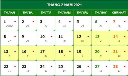 Lịch đặt vé máy bay Tết tháng 2 năm 2021