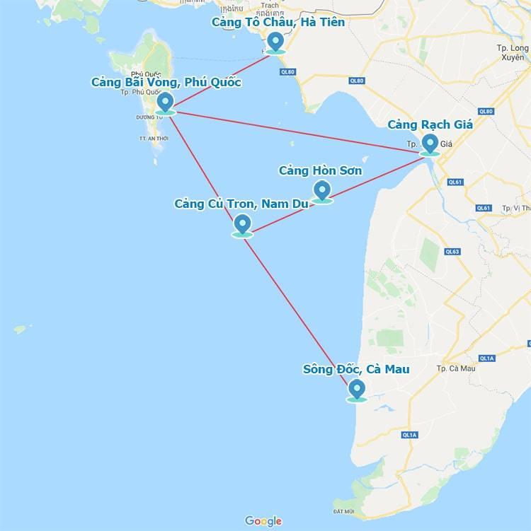 Bản đồ tàu cao tốc khởi hành từ các điểm đi đến Phú Quốc