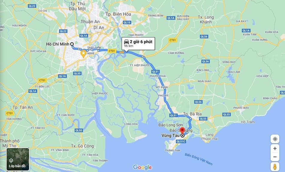 Bản đồ đường đi Vũng Tàu